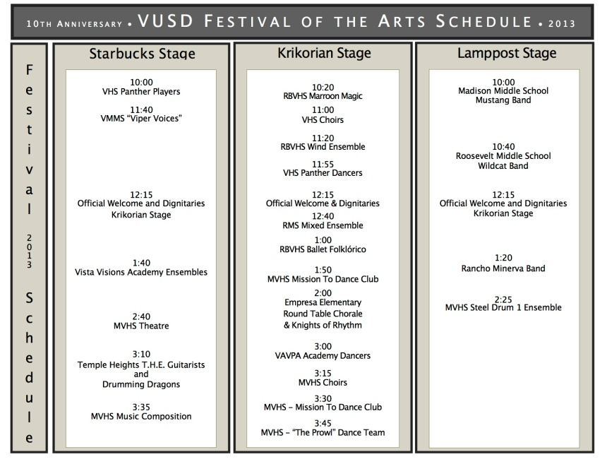 Festival of the Arts_2013_Schedule