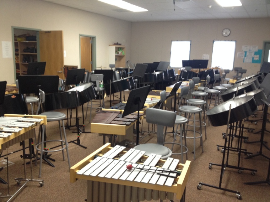 8 tenors, 5 sets of doubles, 3 sets of triples, 6 bass pans, a set of contra bass bars, an engine room and 20+ xylophones and metallophones.  PHEW!!